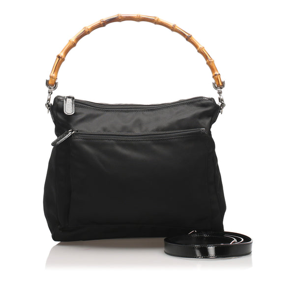 Black Gucci Bamboo Nylon Satchel Bag