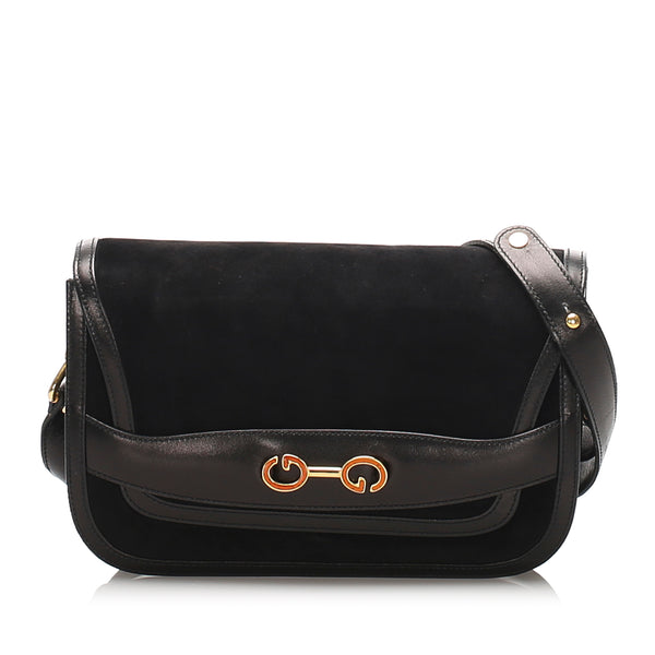 Black Gucci GG Nubuck Leather Shoulder Bag