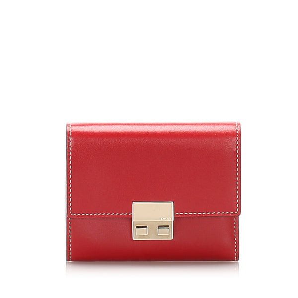Red Gucci Leather Trifold Wallet
