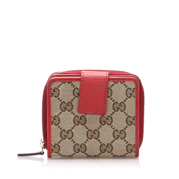 Brown Gucci Bi-Fold GG Canvas Small Wallet