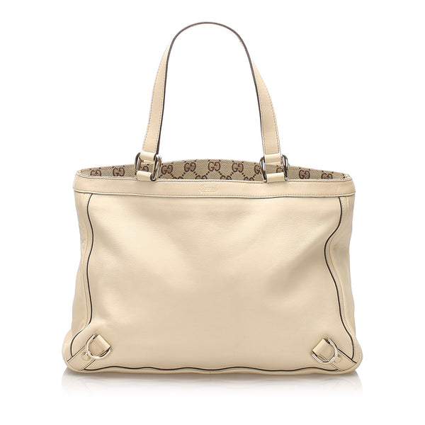 White Gucci Abbey D-Ring Leather Tote Bag