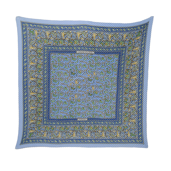 Blue Hermes Chasse en Inde Pleated Silk Scarf