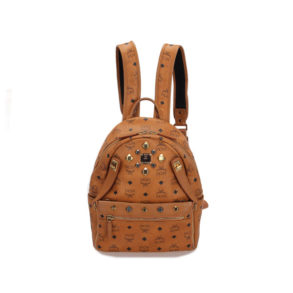 Brown MCM Visetos Dual Stark Backpack Bag
