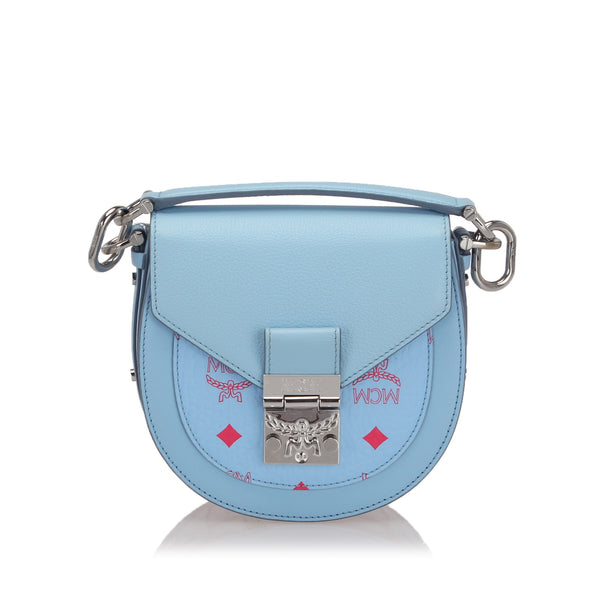 Blue MCM Mini Visetos Patricia Crossbody Bag