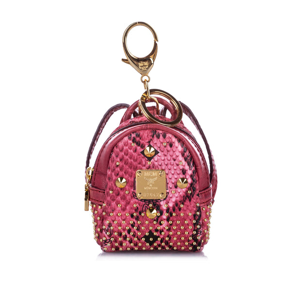 Pink MCM Studded Visetos Backpack Key Chain