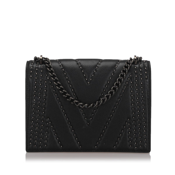 Black MCM Studded Leather Chain Shoulder Bag