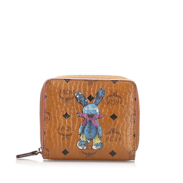 Brown MCM Visetos Mini Rabbit Leather Wallet