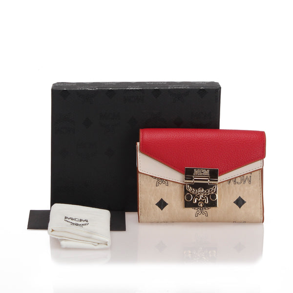 White MCM Visetos Colorblock Patricia Trifold Wallet