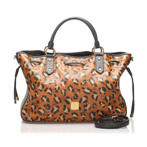 Brown MCM Visetos Leopard Print Leather Tote Bag