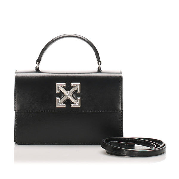 Black Off White Jitney Leather Satchel Bag