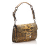 Brown Prada Sound Lock Python Leather Shoulder Bag