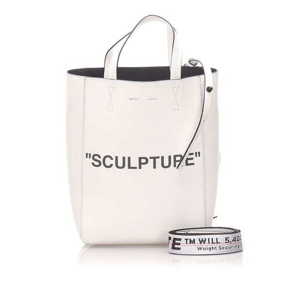White Off White Sculpture Leather Satchel Bag