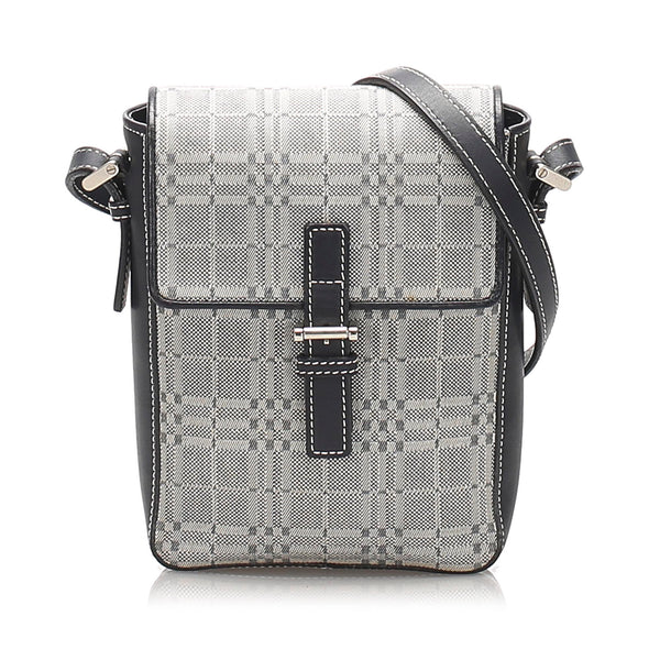 Gray Burberry House Check Canvas Crossbody Bag
