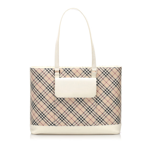 Brown Burberry Nova Check Canvas Tote Bag