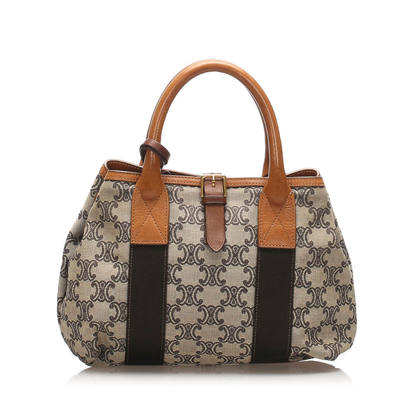 Gray Celine Macadam Canvas Handbag Bag