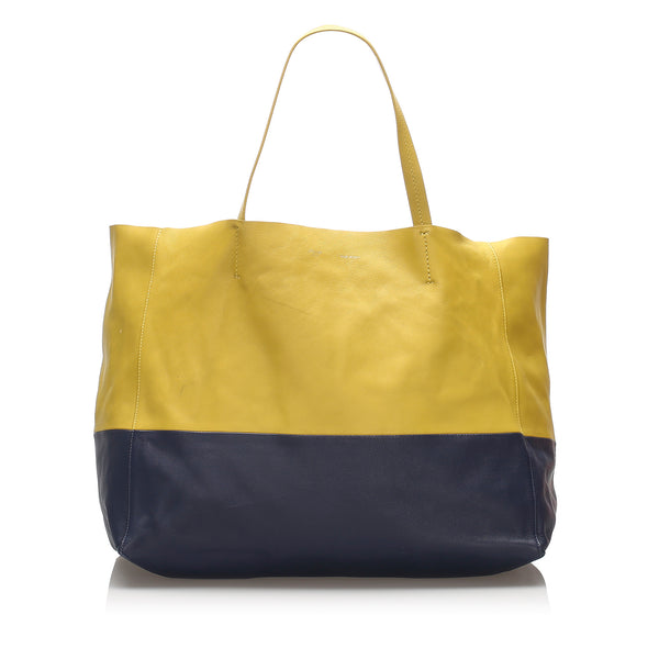 Yellow Celine Horizontal Cabas Leather Tote Bag