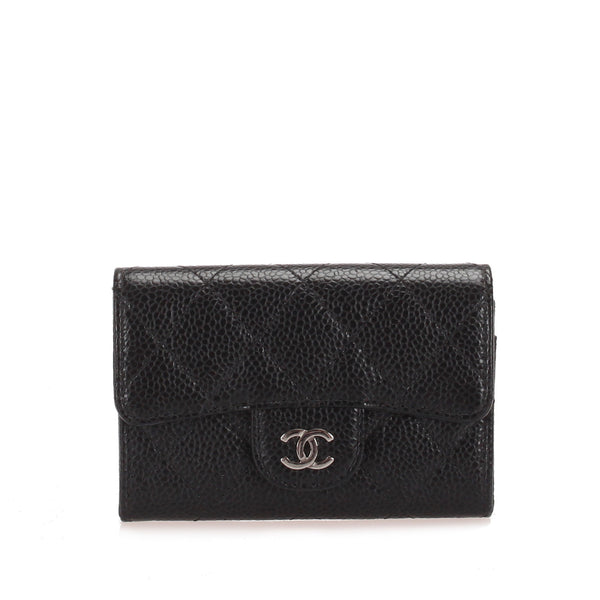 Black Chanel Caviar Leather Card Holder