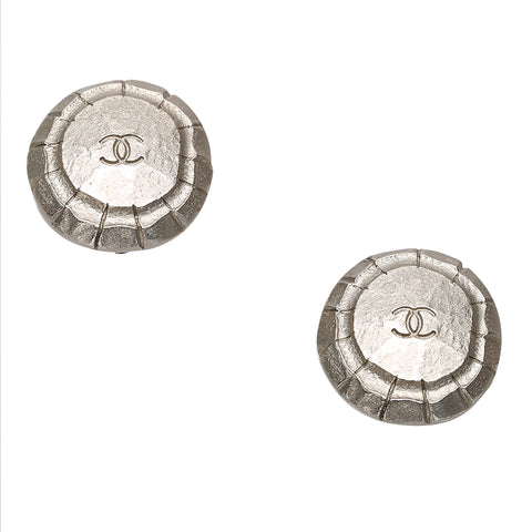 Silver Chanel CC Clip-on Earrings