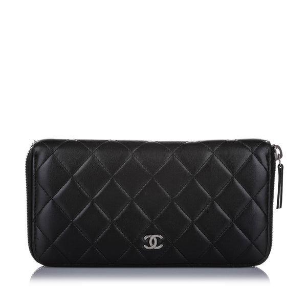 Black Chanel CC Timeless Zip Around Lambskin Leather Long Wallet