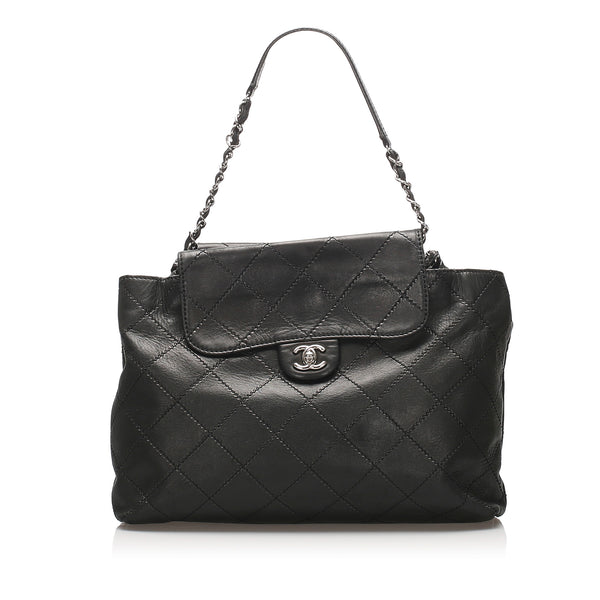 Black Chanel Wild Stitch Double Sided Leather Flap Bag