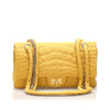 Yellow Chanel Reissue Croc Stitch Cotton Double Flap Bag