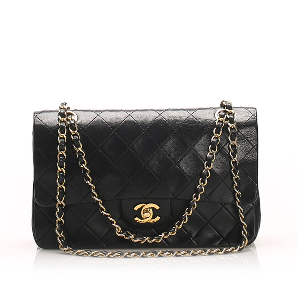 Black Chanel Medium Classic Lambskin Double Flap Bag