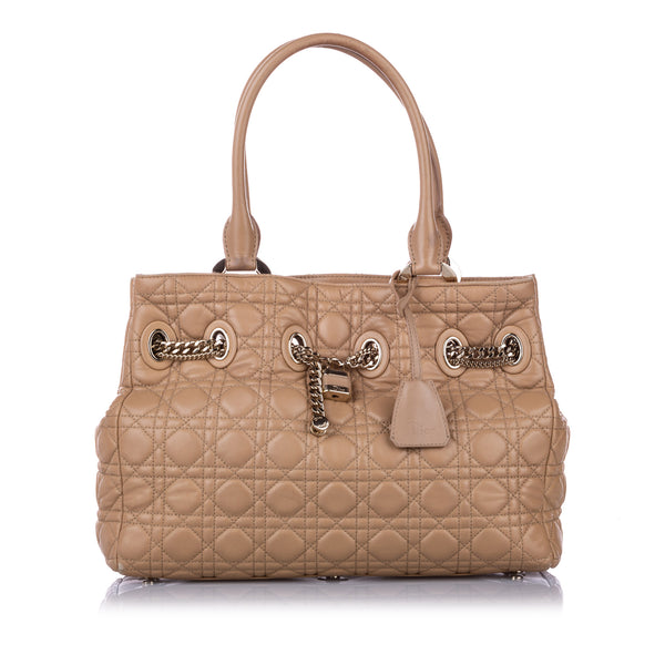 Brown Dior Cannage Chri Chri Leather Tote Bag
