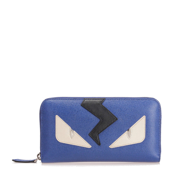 Purple Fendi Monster Leather Zip Wallet