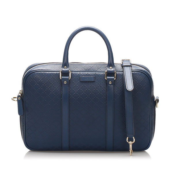 Blue Gucci Diamante Bright Leather Briefcase Bag