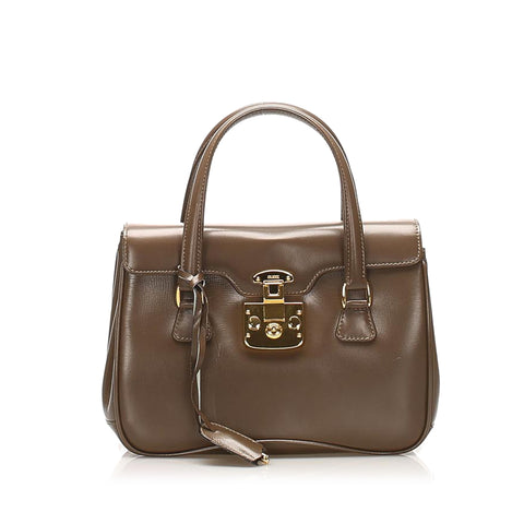 Brown Gucci Lady Lock Leather Handbag Bag