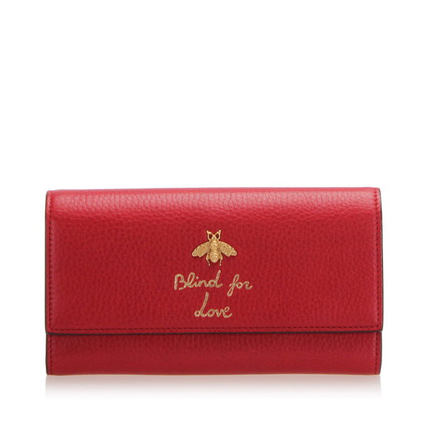 Red Gucci Blind for Love Leather Long Wallet