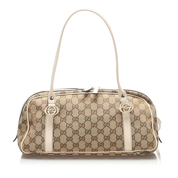 Brown Gucci GG Canvas Twins Shoulder Bag