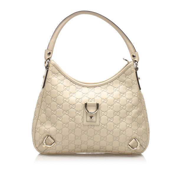 White Gucci Guccissima Abbey Shoulder Bag