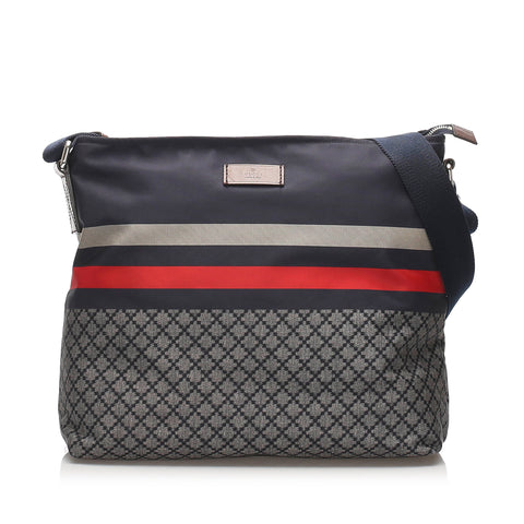 Blue Gucci Diamante Nylon Crossbody Bag