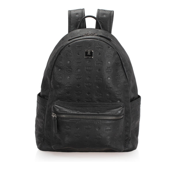 Black MCM Visetos Stark Leather Backpack Bag