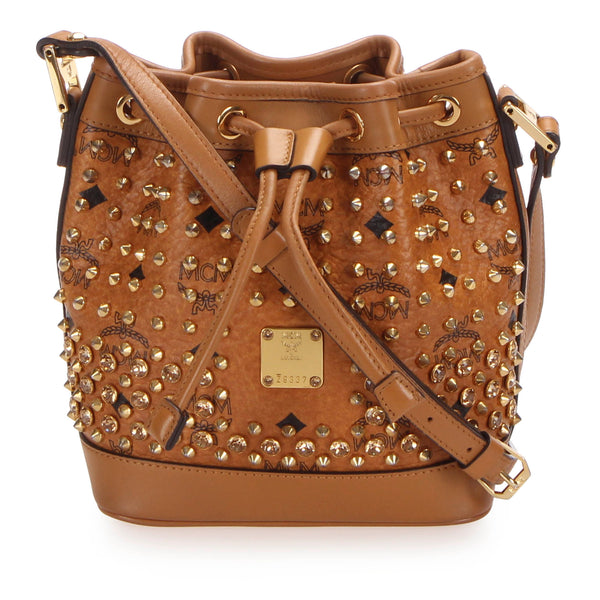 Brown MCM Visetos Studded Leather Bucket Bag