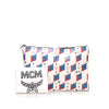 White MCM Visetos Leather Clutch Bag