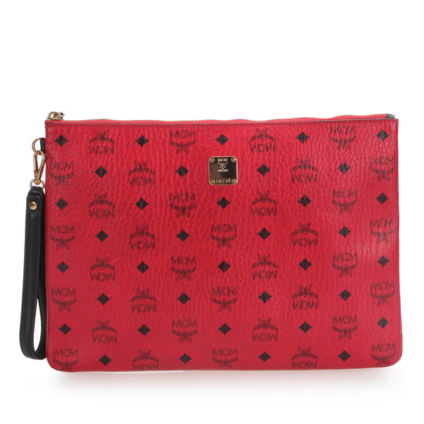 Red MCM Visetos Leather Clutch Bag