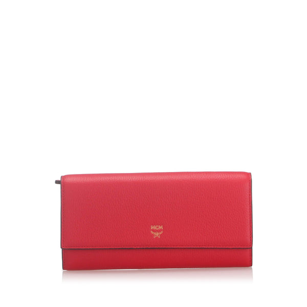 Red MCM Leather Long Wallet