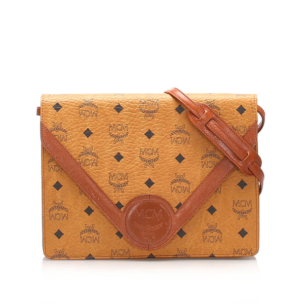 Brown MCM Visetos Leather Crossbody Bag