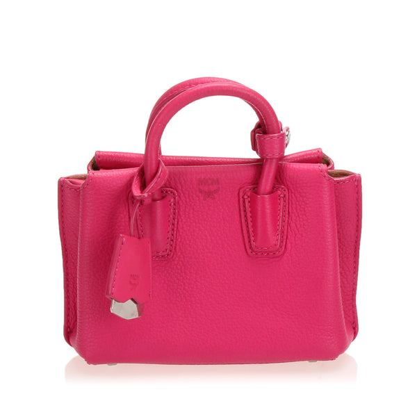 Pink MCM Mini Milla Leather Satchel Bag