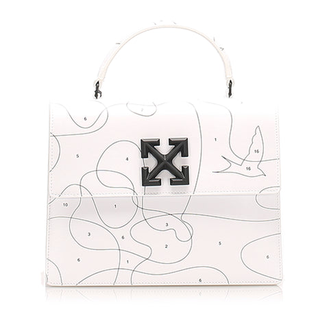 White Off White Jitney Puzzle Leather Satchel Bag