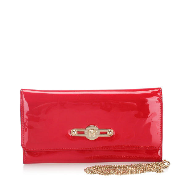 Red Versace Patent Leather Wallet on Chain