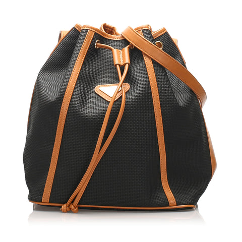 Black YSL Drawstring PVC Bucket Bag