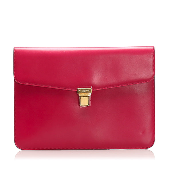 Pink YSL Leather Briefcase Bag