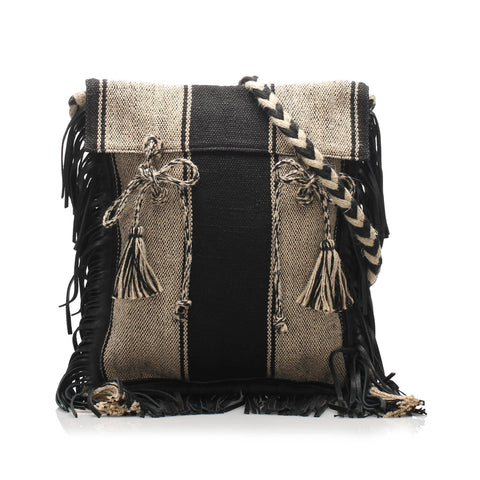 Black YSL Anita Canvas Shoulder Bag