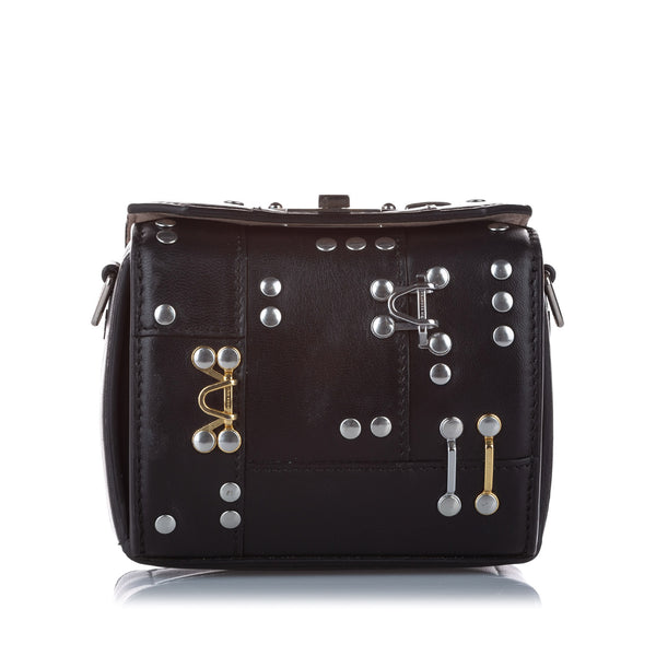 Black Alexander McQueen Studded Box Leather Crossbody Bag