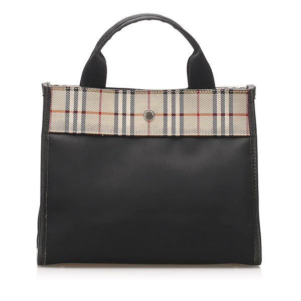 Black Burberry House Check Canvas Handbag Bag