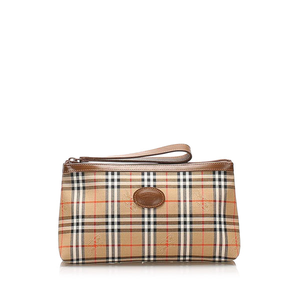 Brown Burberry House Check Canvas Wristlet