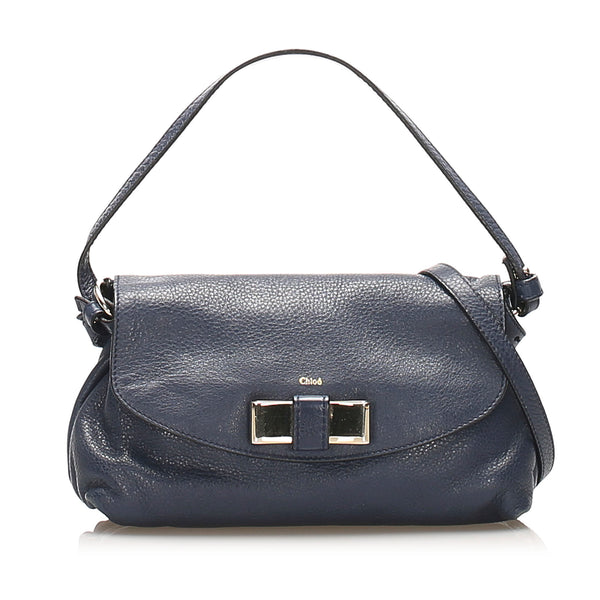 Blue Chloe Lily Leather Satchel Bag